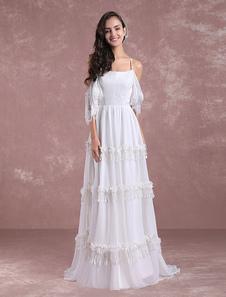 Boho vestidos de novia 2018 verano encaje vestido de gasa de playa nupcial de la espalda de espalda cruzados borlas vestido nupcial con tren Milanoo