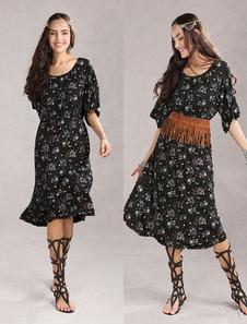 Image of Vintage floreale 70% cotone 30% Spandex Womens vestito rosso
