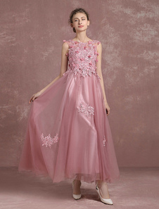Tull Prom robe A ligne dentelle perlée Homecoming sans manches robe de robe de soirée rose fleur