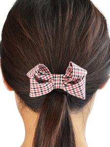 Image of Acconciatura capelli Cerchietto misto cotone scozzese fiocchi