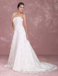 Robe de mariée gracieuse A-ligne blanc avec dentelle encolure en coeur traîne église