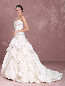Image of Abito da sposa senza spalline Abito da sposa abito da sposa in raso Increspato abito da sposa ricamato in rilievo da sposa