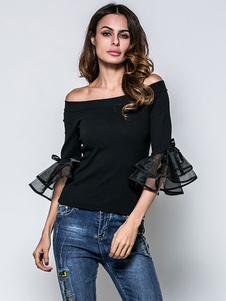Image of Cotone nero camicia Patchwork Organza largo della spalla mezza m