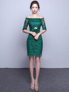 Robe de Cocktail Dentelle au large de l'épaule gaine pas cher parti robe Illusion demi manchon Occasion Mini robe