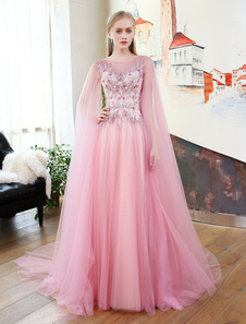 Long Robes de bal Luxe Tulle Fleurs Applique Beading Ribbons Cameo Pink Formal Party Dresses