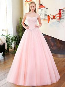 Robes de mariée de luxe Robe en satin sans manches en mousseline de soie rose Tulle