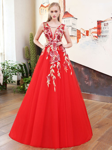 Red Pageant Robes Fleurs Applique Embroidered Illusion V Back Tulle Long Robes de bal avec train