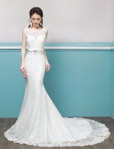 Image of Abito da Sposa a Sirena avorio con scollo tondo smanicato cintura forato perline di Lacci semplice Mit Schleppe