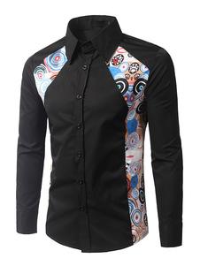 Algodón negro que forma la camisa Casual para hombre