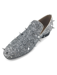 Image of Silver Spike Loafers 2020 Men Prom Shoes Sequined Metallic Party