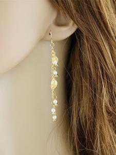 Image of Orecchini di moda crociera chic & moderni foglie perle bucato in lega d'acciaio
