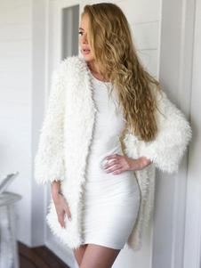Image of Cappotto invernale a manica lunga del cappotto di pelliccia del faux bianco per le donne