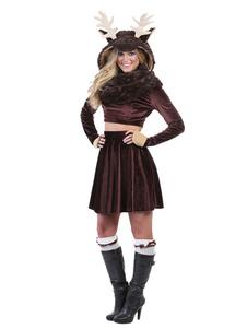 Disfraz de regalo de navidad para mujer Mini minifalda de reno marrón oscuro con top y sombrero