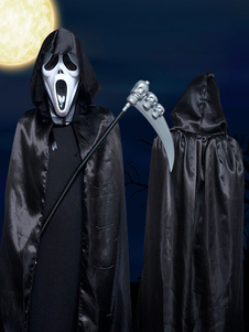 Halloween Grim Reaper Costume Vampire Black Unisex Two Tone Cape Coat