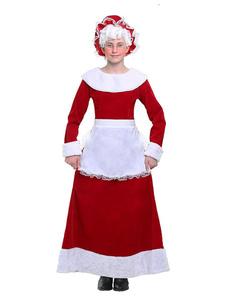 Disfraz de regalo de Navidad para mujer Vestido de terciopelo rojo con delantal y sombrero