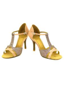 Danse chaussures talon aiguille pailletée deux ton T-Type des femmes personnalisé Ballroom Shoes