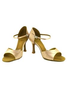 Salle de bal satin chaussures strass abricot élégant talon aiguille personnalisée de chaussures de danse
