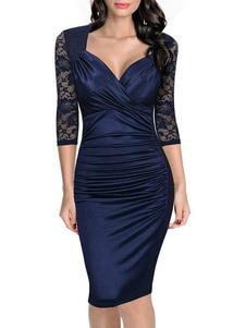 Bodycon robe dentelle Patchwork Queen Anne Neck ruché tonture des femmes manches robe fourreau bleu profond