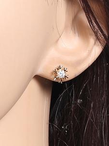 Image of Gli orecchini della vite prigioniera bianca fanno il nastro di figura dei monili degli orecchini in rilievo dei rhinestones