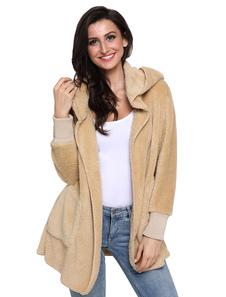 Image of Cappotto in montone con cappuccio in montone con maniche lunghe in pelliccia sintetica per le donne