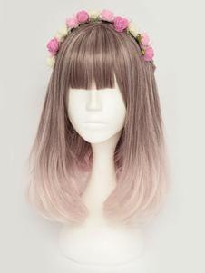 Image of Harajuku Lolita Wigs ricci di lolita stratificati arruffati ricci marrone con frangette