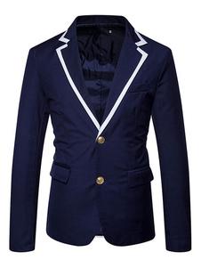Image of Blazer Da Uomo 2019 Completo Casual Da Uomo Blu Marino Blazer Ad