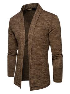 Brown Cardigan Sweater Hombre Sweater Turndown Collar manga larga Regular Fit Jacket