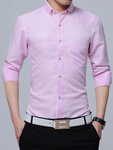 Camisa de algodón con manga larga con dibujo de cuadros formal