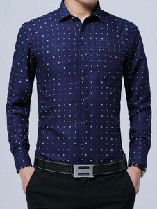 Camisa de algodón con manga larga con estampado Business casual