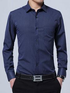 Camisa de algodón con manga larga con dibujo de banda Business casual