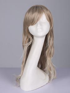 Image of Parrucche lunghe ricci stratificate castano chiare donna resistente al Calore in Fibra festa chic & moderne