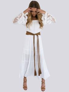 Longue robe de plage en dentelle blanche Boho Off épaule femmes Sexy Summer Beach Maxi Dress