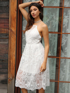 Image of Abito donna in pizzo Abito Boho bianco Abito attillato senza maniche slim fit aderente