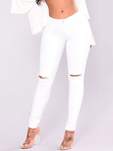 Image of Pantaloni jeans biancl chic & moderni semplici in denim forato