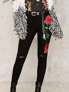 Image of Pantaloni jeans neri chic & moderni vita alta in denim fiore