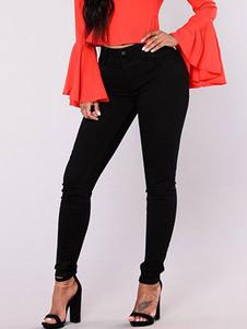 Image of Pantaloni jeans neri chic & moderni vita alta in denim