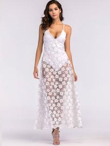 Image of Abito lungo bianco Abito sexy abito floreale