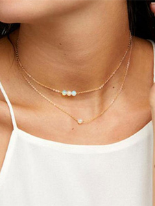 Image of Collana di moda ora in lega d'acciaio chic & moderna perline collana donna