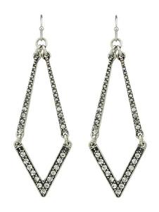 Image of Orecchino d'argento donne strass geometrica scava fuori lega ciondola orecchino