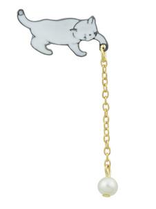 Image of Spilla bianca in lega d'acciaio perle Adorabile animali fuori donna
