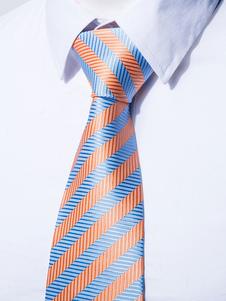 Image of Cravatta abito formale a strisce arancione di poliestere