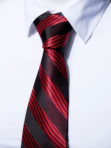 Image of Cravatta abito formale a strisce bicolore di poliestere