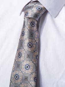 Image of Cravatta abito formale a pois oro chiara fibra sintetica