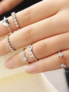 Image of Anello anello argento oro chic & moderno fuori in lega d'acciaio