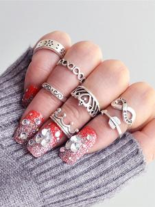 Image of Anello anello argento chic & moderno casuale in lega d'acciaio