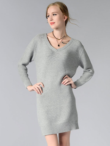 Fascinante robe pull moyenne Simple unicolore col V street style