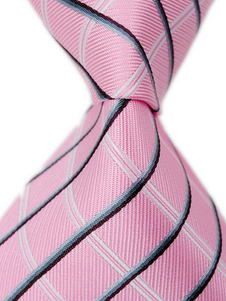Image of Cravatta formale a strisce rosa in ovatta di seta