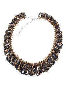 Image of Collana nera di resina chic & moderna perline girocollo donna