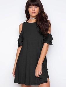 Image of Abito a T-shirt cotone nero donna monocolore autunno maniche corte con scollo tondo casuale