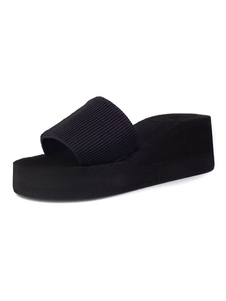 Zapatillas Sandalias negras Zapatillas de plataforma con puntera abierta para mujer Sandalias deslizantes